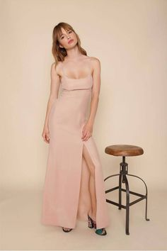 7fafcadc45e Floor length slip dress Dusty rose color Low scoop neck front High waisted  baby doll seam