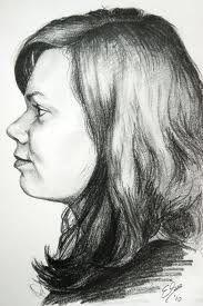 Portret en profil. Hier heeft de tekenaar van de zijkant door met schaduw te werken een portret en profil getekend.