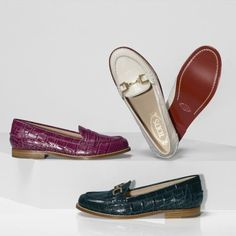 Tod's women's penny loafers in highly polished crocodile-effect leather