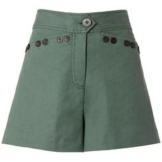 Derek Lam 10 Crosby Army Sailor Shorts ($250) ❤ liked on Polyvore featuring shorts, zipper shorts, olive green shorts, linen shorts, sailor shorts and army shorts