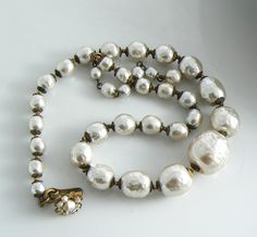 Vintage Miriam Haskell Graduated Baroque Glass Pearl Necklace - Vintage Lane Jewelry