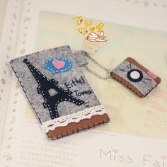 不织布材料包手工DIY布艺 埃菲尔铁塔卡套 卡片袋