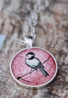 Bird & Branch on Pastel Pink Background