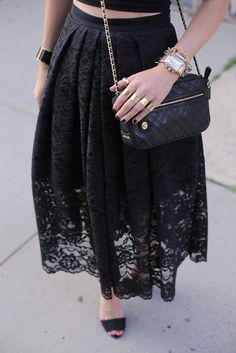 edgy black lace skirt