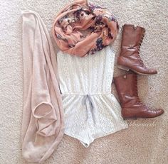 Lace romper, Cardigan, Floral scarf & Boots