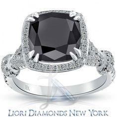 4.48 Carat Certified Cushion Cut Black Diamond Ring 18k Pave Halo Vintage Style - Classic Engagement Rings - Engagement - Lioridiamonds.com