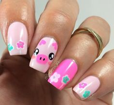 Pig nails, never get tired of these cute nails! Pig Nail Art, Pig Nails, Kawaii Nail Art, Animal Nail Art, Animal Nail Designs, Cute Nail Designs, Diy Nail Polish, Nail Polish Designs, Love Nails