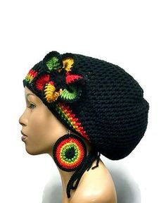 MADE TO ORDER Black Rasta Hat Slouch hat/deadlock hat with drawstring free crochet earrings and detachable flower clip Red Gold Green Easy Crochet, Knit Crochet, Crochet Hats, Crochet Stitches, Crochet Patterns, Crochet Earrings Pattern, Black Crochet Dress, Crochet Dresses, Rasta Colors