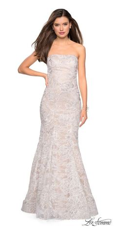 b097b44df7 Strapless Mermaid Sequin Embellished Lace Prom Dress by La Femme