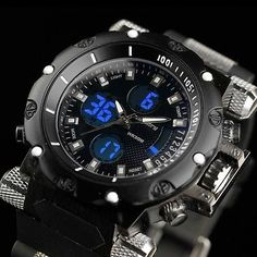 INFANTRY Mens LCD Digital Quartz Wrist Watch Sport Aviator Police Black Rubber