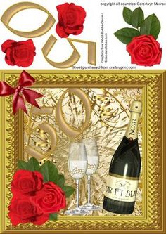 50th wedding anniversary Gold on Craftsuprint designed by Ceredwyn Macrae - Beautiful Wedding anniversary 50th gOLD with bottle of bubbley and glasses and beautiful Red roses - Now available for download!