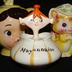 Vintage Holt Howard Mayonnaise Girl Pixie Ceramic Jar & Spoon Pixieware