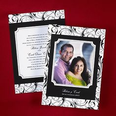 Flourish designs are shown around your photo on this two-sided invitation.  Invitations inform your guests of the event details and set the tone for your entire celebration. Mail invitations six weeks before the wedding and be sure to have them weighed at the post office to determine the proper postage.