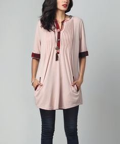 Loving this Mavue & Red Plaid Notch Neck Pin Tuck Pocket Tunic on #zulily! #zulilyfinds