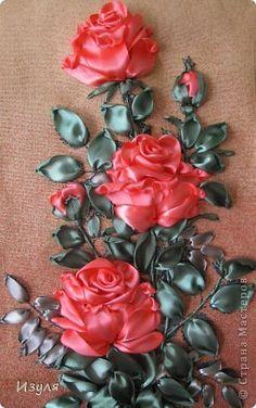 розы-вышивка лентами по