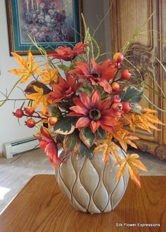 Red Sunflowers in Vase, Silk Flowers