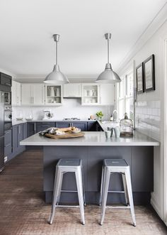 A gorgeous gray kitchen.
