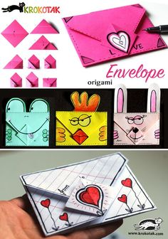 How to make and oaigami envelope! Perfect for Velantine's Day #origami