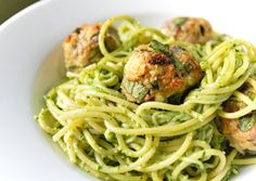 Spaghetti with Spinach-Pesto and Turkey Meatballs. The green-ness is kind of unappealing, but I bet it tastes great!