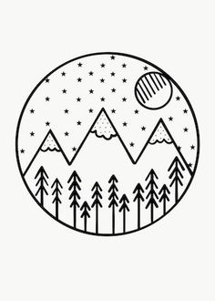 Minimalist art 839780661752229813 - Monochrome Mountains Forest Theme Hand Drawn Art – Source by Cute Little Drawings, Mini Drawings, Cute Easy Drawings, Cool Art Drawings, Pencil Art Drawings, Art Drawings Sketches, Doodle Drawings, Tattoo Sketches, Tattoo Drawings