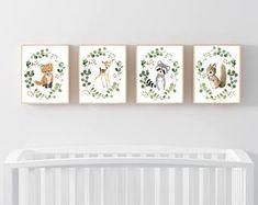 Nursery woodland Print Set 4, Neutral Nursery Art , Nursery Decor, Kids Wall Art, nursery art,squirrel, fox painting, personalized art