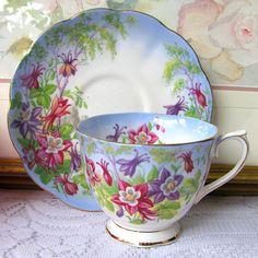 Royal Albert Columbine Tea Cup and Saucer, Blue Tinge English Bone China Gilt Trim Pink and Purple Columbines, c.1950s, Bridal Shower Gift