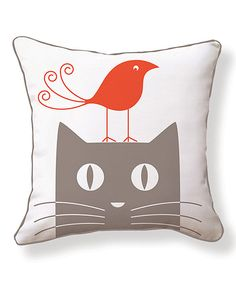 Look at this Bird & Cat Reversible Throw Pillow on #zulily today!