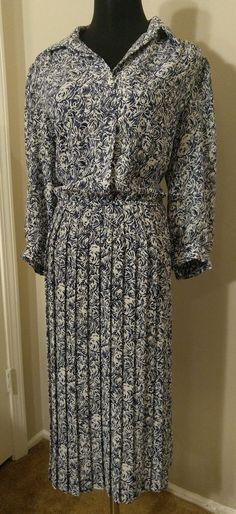 "$9.95 Alexis fashions Inc. Blue Bust 42"" Dress White Rosette Secretary Career Dress #AlexisFashionsInc #Secretary #WeartoWork"