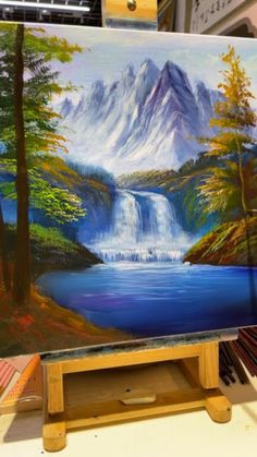 Waterfall Paintings, Scenery Paintings, Oil Painting Landscapes, Famous Acrylic Paintings, Acrylic Landscape Painting, Paintings On Canvas, Easy Nature Paintings, Famous Landscape Paintings, Landscape Artwork