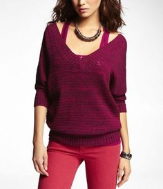 V-NECK SCOOP BACK SWEATER at Express