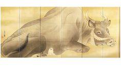 Nagasawa Rosetsu, Black Bull (attention to its white dog friend)
