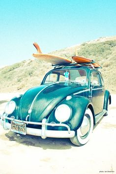 VW beetle and surfboards