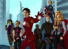Genderbent Avengers. I think Hawkeye's hair could be a little longer, but this works, too.