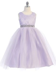 ea7a20424d2 Cotton Lace Dress with Tulle Layer Skirt   Rhinestone Belt