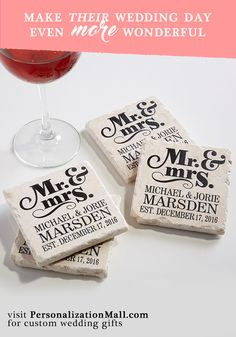 LOVE these personalized coasters - PersonalizationMall.com has tons of unique wedding gifts that are so beautiful!