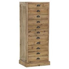 """Stow extra linens in the living room or craft supplies in the den with this eye-catching chest, crafted from upcycled oak and showcasing a natural finish.   Product: ChestConstruction Material: Upcycled oak wood and ironColor: Natural and antique brass  Features:  Crescent-shaped antiqued hardware Eleven drawers Handmade  Dimensions: 57"""" H x 23.75"""" W x 17.75"""" DCleaning and Care: Wipe clean with damp cloth. Mild dish soap when needed"""