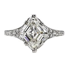 Incredible 2.73 Carat GIA Cert Lozenge Cut Diamond Platinum Engagement Ring. 2.73ct K/VS1 GIA certified Lozenge cut diamond set in a vintage platinum mounting. Circa 1920. A bold yet feminine design makes this Art Deco engagement ring a true classic.