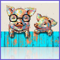Visual Art Decor Cartoon Animal Canvas Wall Art Funky Pigs Digital Painting Prints with Frame Ready to Hang Modern Picture for Kid s Room Home Wall Decoration 16 Pig Art, Art Watercolor, Baby Pigs, Kids Room Wall Art, Animal Paintings, Oil Paintings, Cross Paintings, Painting Prints, Canvas Wall Art