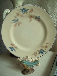 antique bluebird and pink flowers pattern