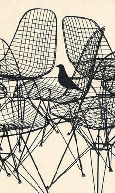 schalling:  Charles & Ray Eames wire chair, commercial for Herman Miller