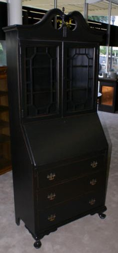 painted black queen anne secretary desk