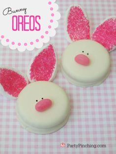 Easter dessert ideas, easter bunny cookies, easy easter desserts, bunny oreos, easter desserts for kids, cute easter cookies
