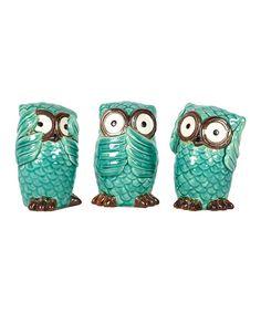 Blue Ceramic Owl Figurine Set | zulily