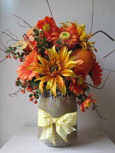 Thanksgiving Vintage Style Burlap Mason Jar Crafts - 2014 Table Decor, Yellow Bowknot  #2014 #Thanksgiving