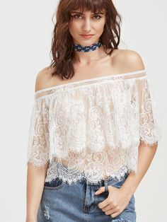 Online shopping for White Off The Shoulder Sheer Floral Lace Cape Top from a great selection of women's fashion clothing & more at MakeMeChic.COM.