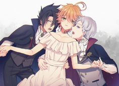 Ray , Emma , Norman The promised neverland Anime Ships, Neverland Art, Norman, Kawaii, Animation, Anime, Anime Shows, Fan Art, Manga