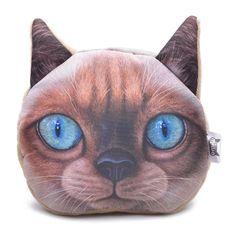 Cute Cat Face Wallet Women Zipper Coin Money Purse for Cat Lovers