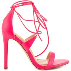 Liliana Women's Flight - Neon Pink ($50) ❤ liked on Polyvore featuring shoes, pink, sexy shoes, sexy pink shoes, sexy lace up shoes, synthetic shoes and laced shoes