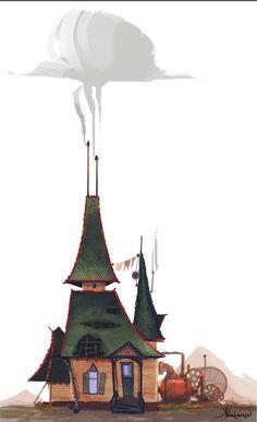 Post apocalyptic  house development (steampunk) by Kristina Vardazaryan, via Behance