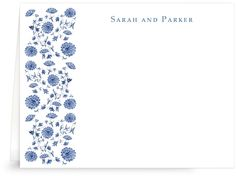 China blue floral tapestry wedding thank you notes, stationery | Lobird.com